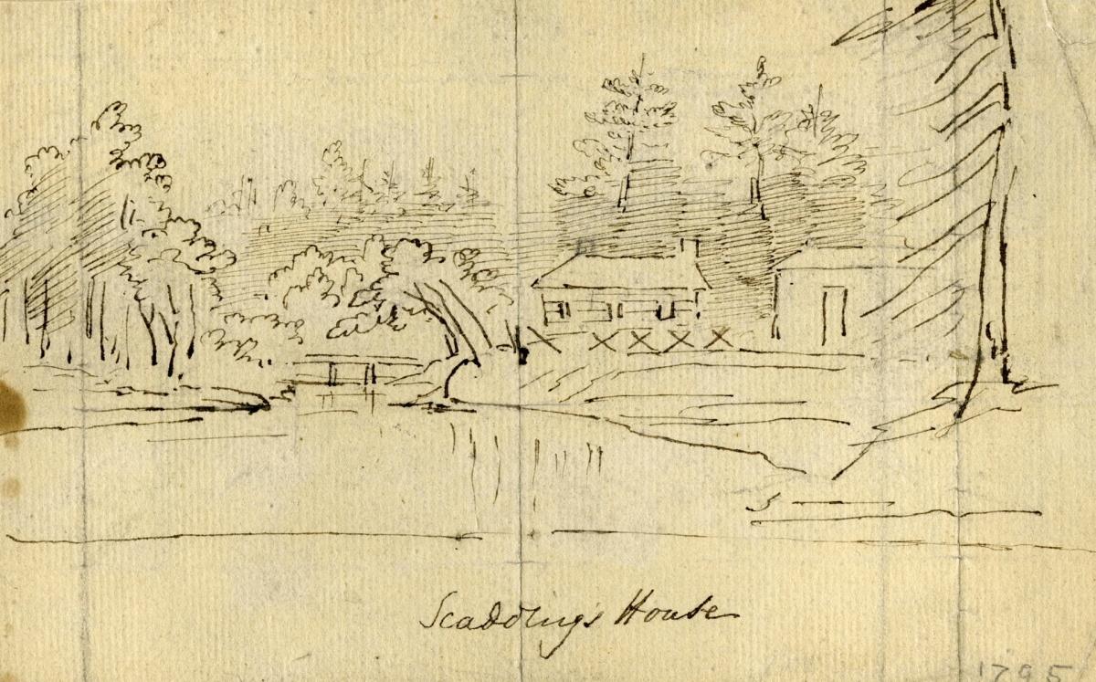 Scadding, John, cabin, Don R., e. side, s. of Queen St. E., by Elizabeth Posthuma Gwillim Scadding 1795