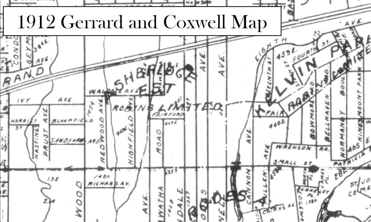 1912 Gerrard and Coxwell Map