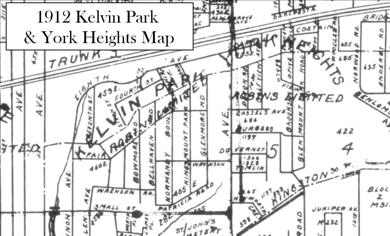 1912 Kelvin Park & York Heights Map