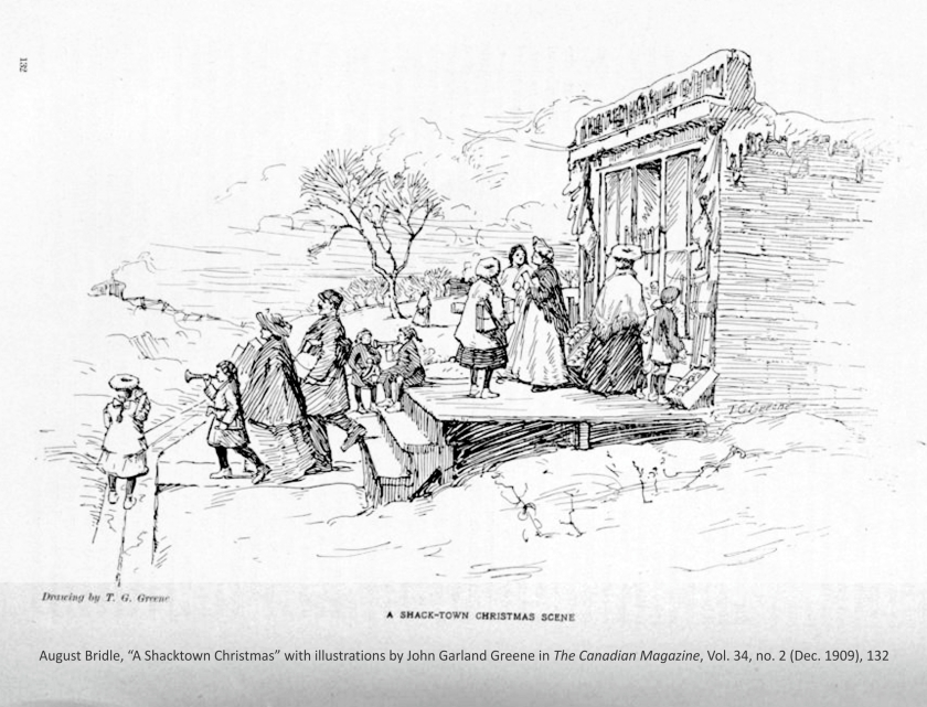"""August Bridle, """"A Shacktown Christmas"""" with illustrations by John Garland Greene in The Canadian Magazine, Vol. 34, no. 2 (Dec. 1909), 132"""