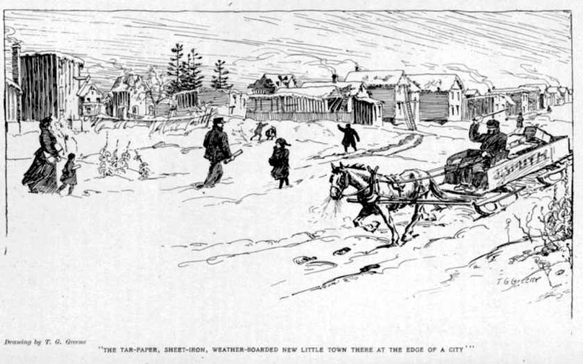 """August Bridle, """"A Shacktown Christmas"""" with illustrations by Thomas Garland Greene in The Canadian Magazine, Vol. 34, no. 2 (Dec. 1909), 130"""