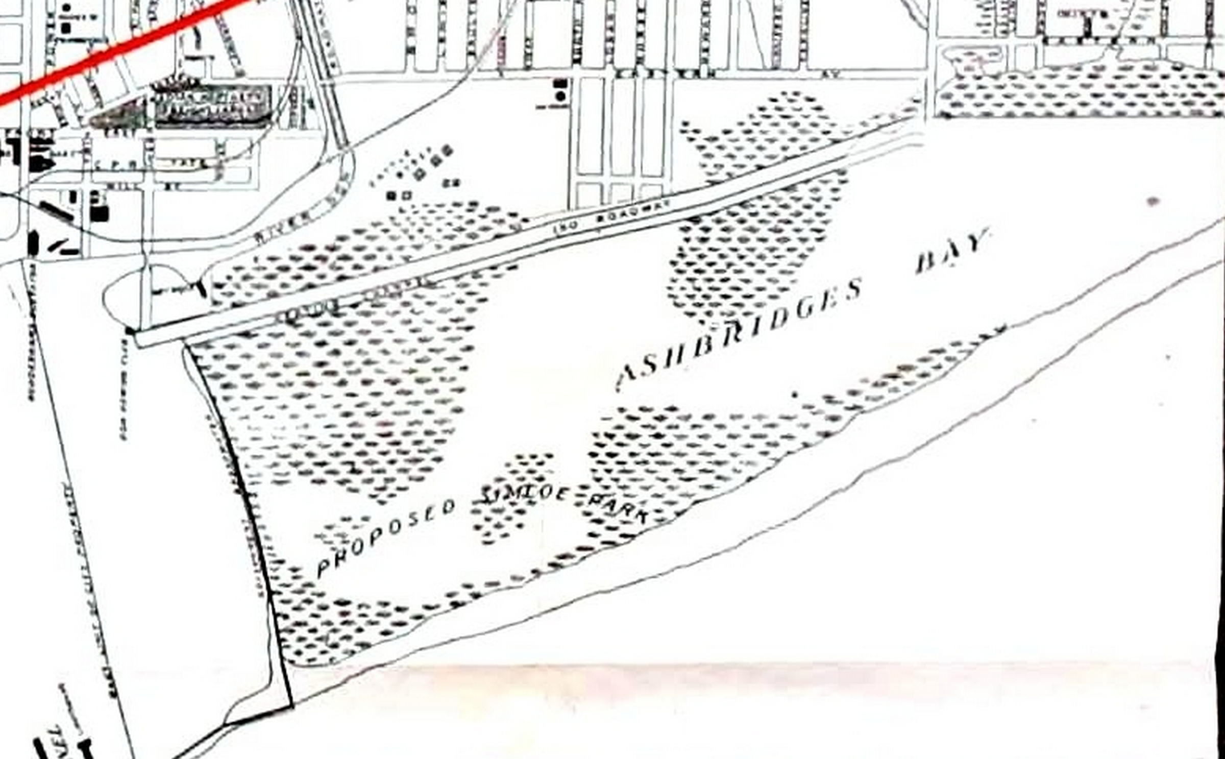 1912 Rex Chocolate Map Ashbridges Bay