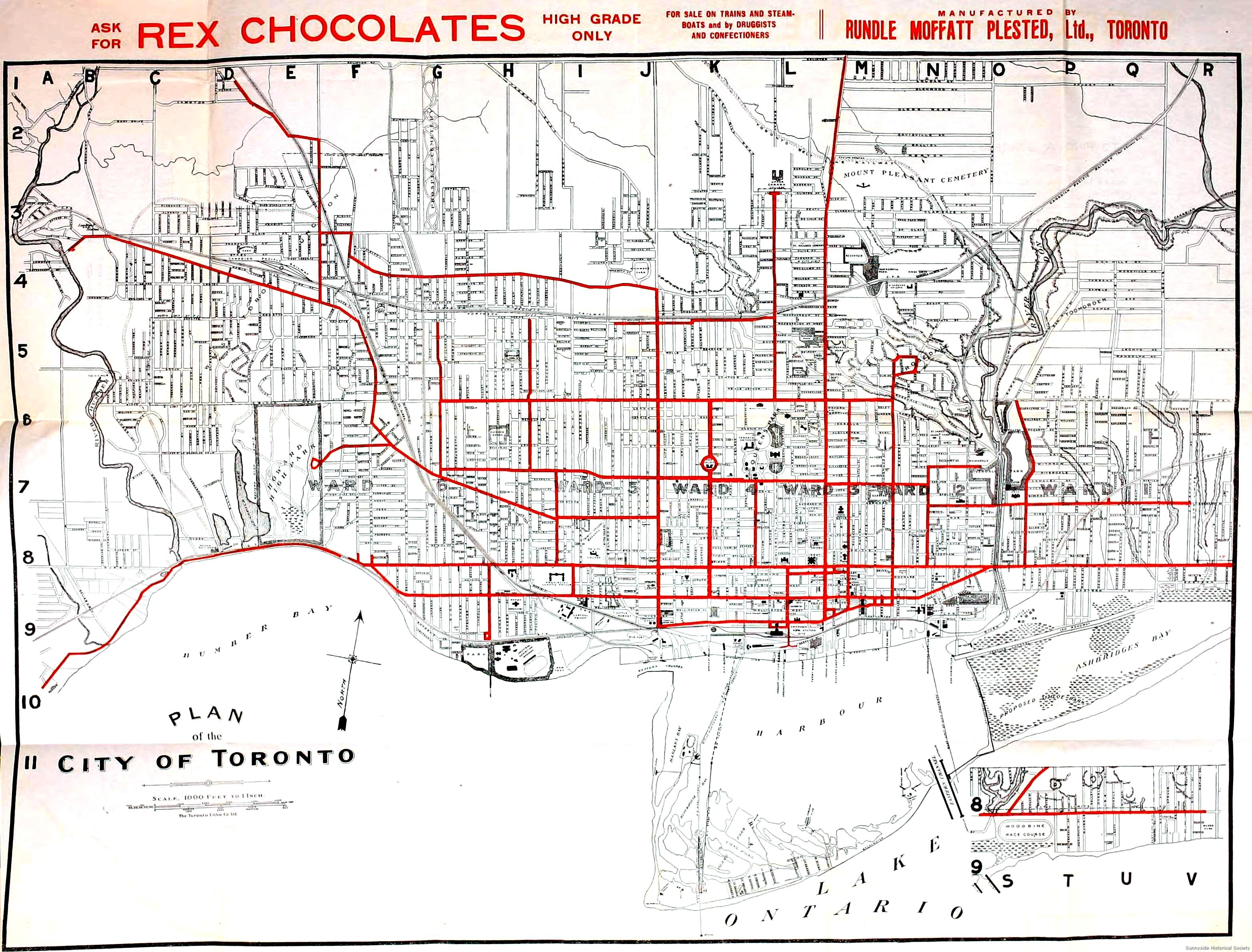 1912 Rex Chocolate Map of Toronto