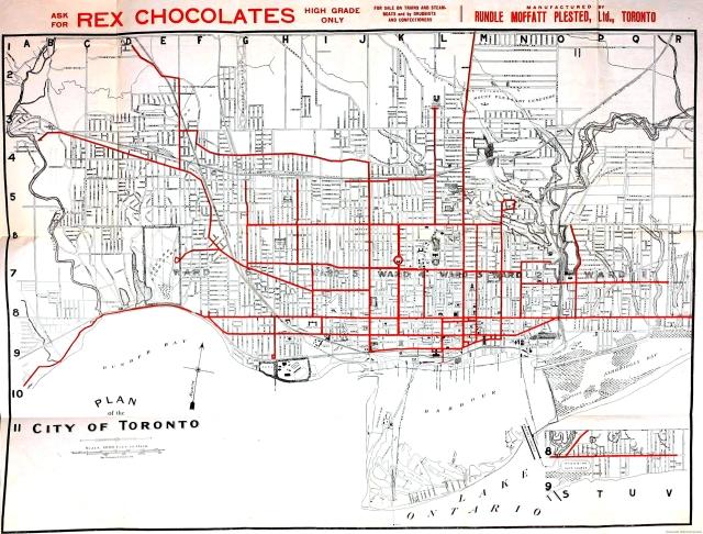 1912 Rex Chocolate Map of Toronto