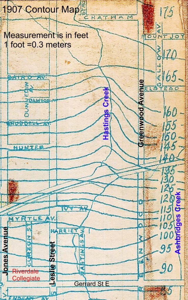 Contour Map 1908 Hastings Creek labelled