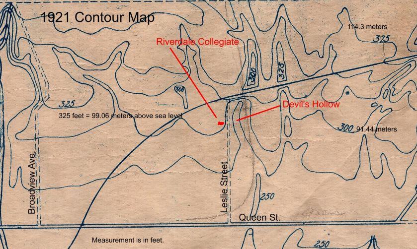 Lazeby 1921 TTC close up topo map Leslieville labelled