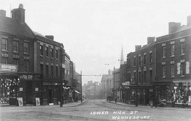 staffordshire, wednesbury, lower high street in the early 1910s
