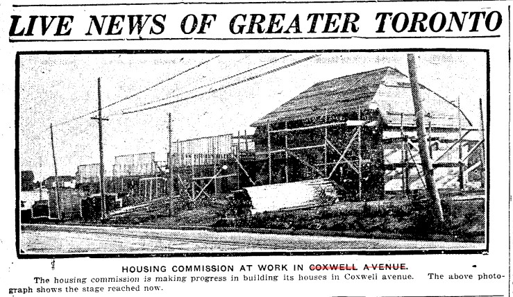 19190626 TS Toronto Housing Commission construction Coxwell