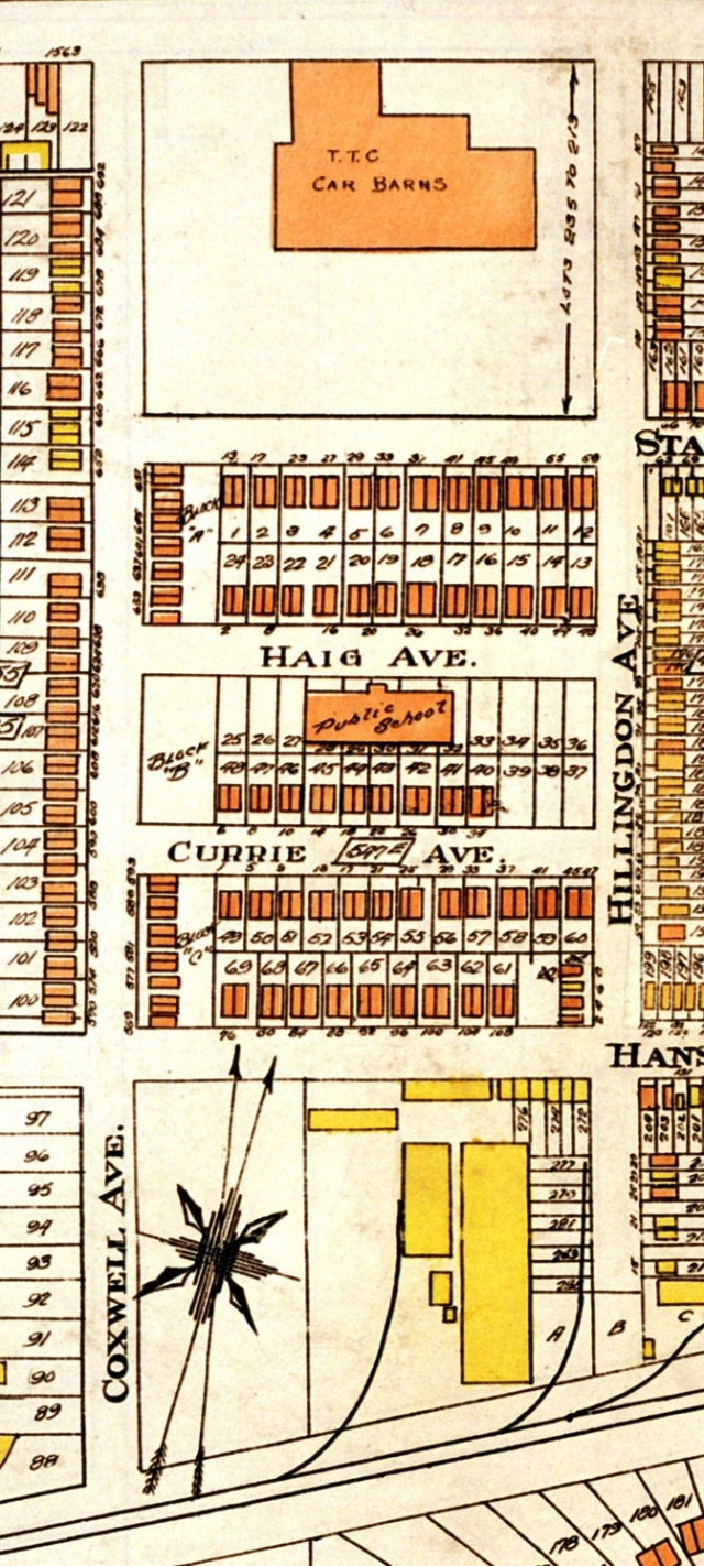 1924 Close up showing the City of Toronto's housing on Woodrow, Haig, Currie, Hanson and Hillingdon