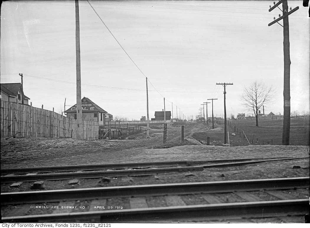Coxwell Avenue north from subway 1912