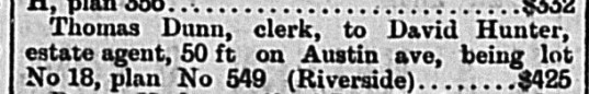 18861207 GL Sale of land Austin Avenue