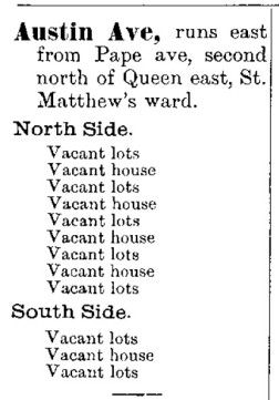 1887 City Directory Austin Avenue vacant houses