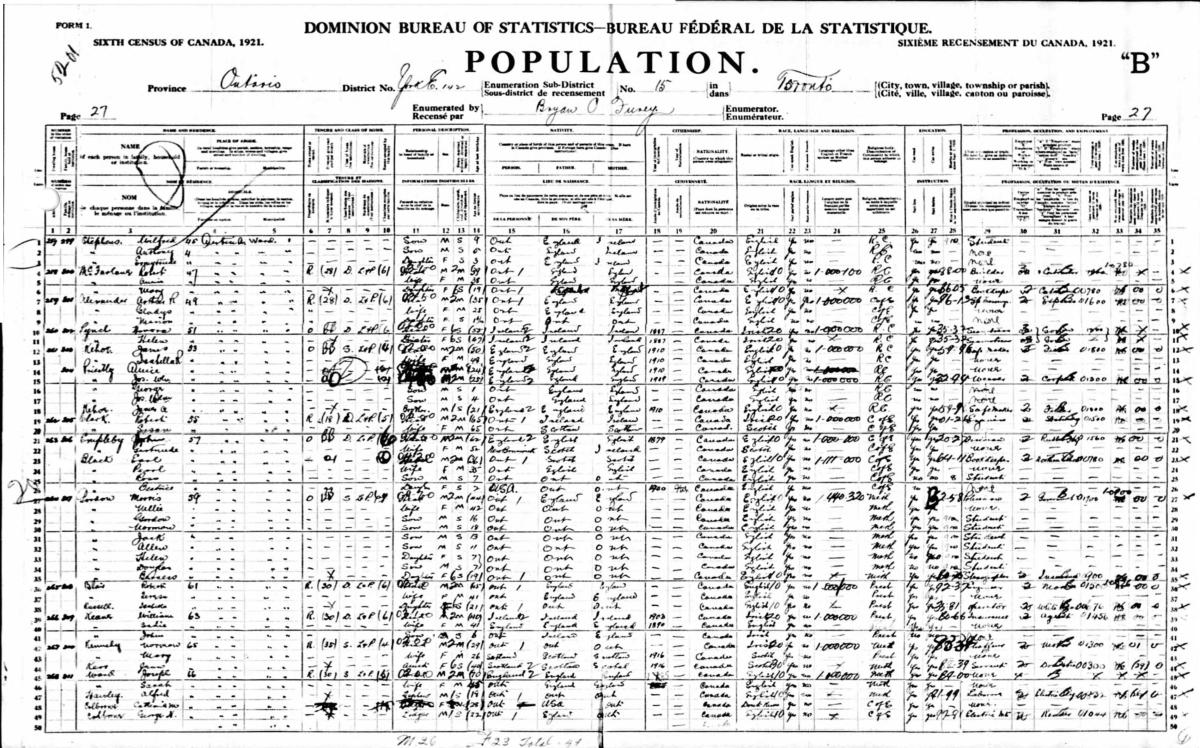 1921 Census Austin Ave p 27
