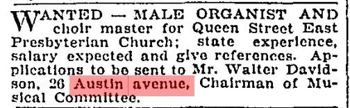 26 19080522 GL Male organist wanted