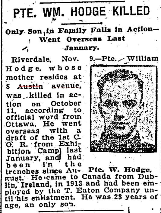8 19181111 TS William Hodge killed