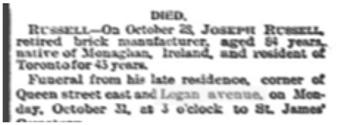18921031 GL Funeral Joseph Russell Globe, October 31, 1892