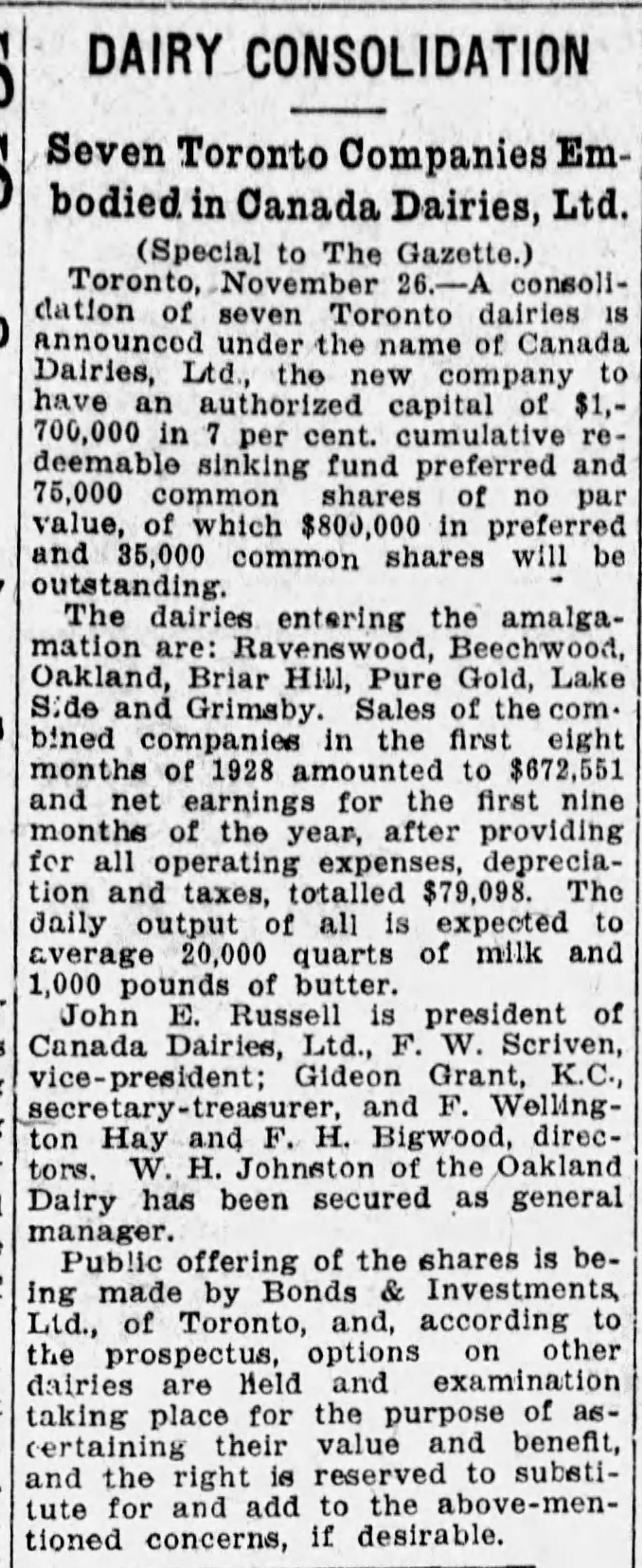 19281127 Gazette (Mtl) Canada Dairies
