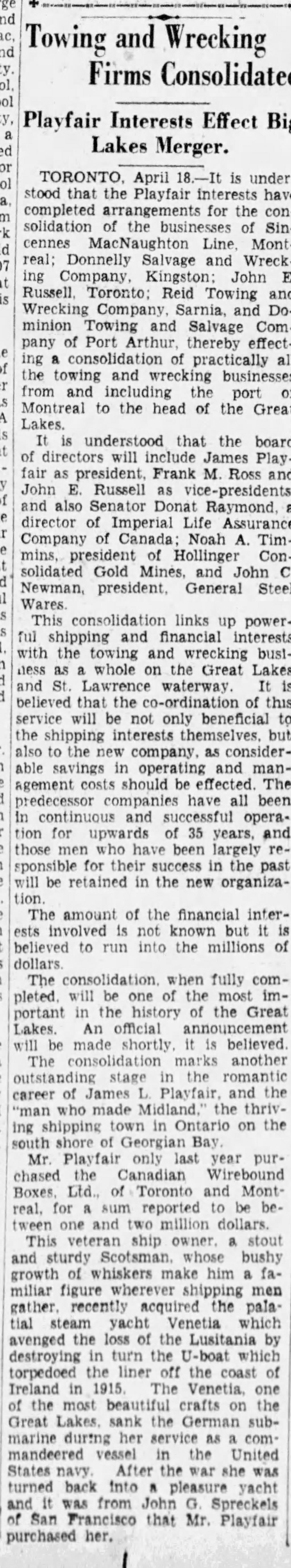 19290418 Ottawa Citizen Consolidation dredging companies