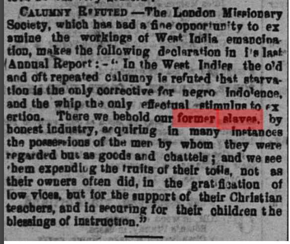 18571010 GL Former slaves Carribean, Globe, Oct. 10, 1857