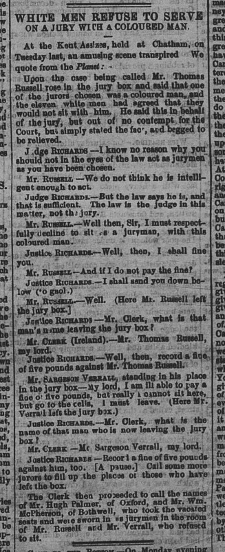 18630420 GL White men refuse to serve on jury, Globe, April 20, 1863