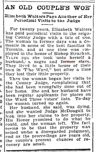 18990223 TS Elizabeth Walters, Toronto Star, Feb. 23, 1899