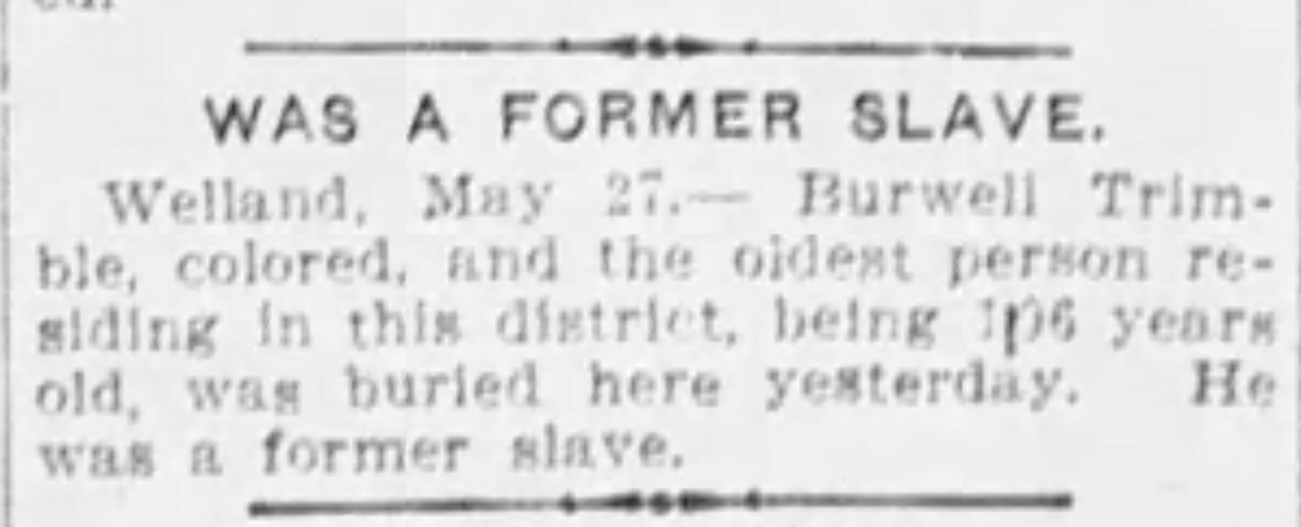 19040428 Burwell Trimble, Welland Ottawa Citizen, April 28, 1904