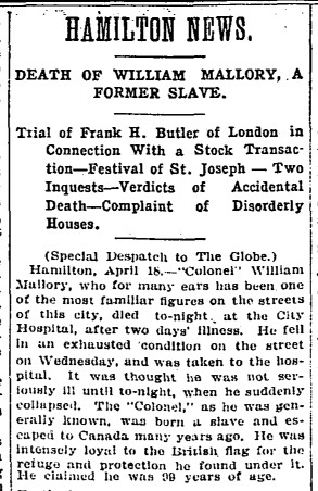 19070419 GL Death of Wm Mallory, Hamilton, Globe, April 19, 1907