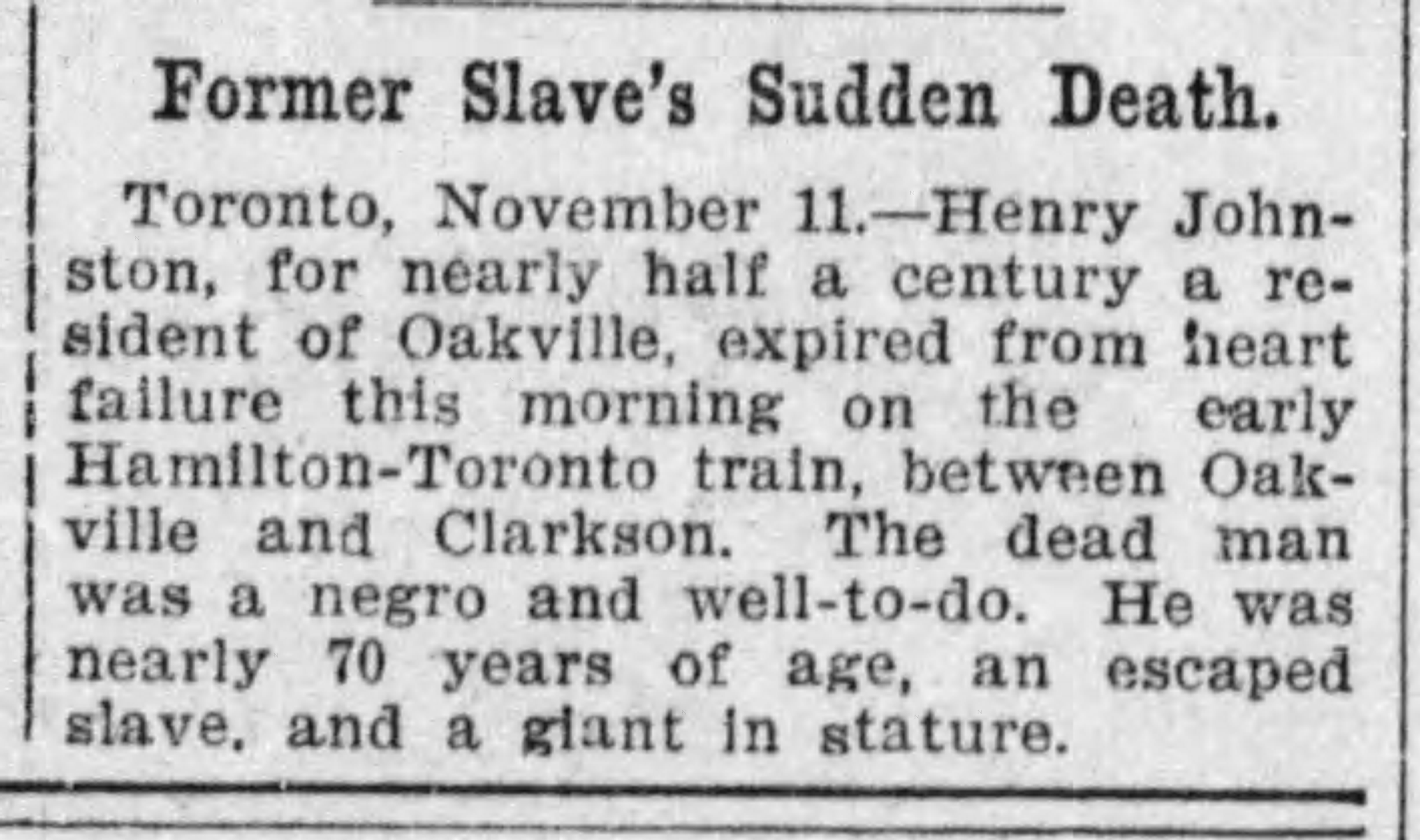19071102 Henry Johnston, Oakville, The Gazette (Montreal) Nov. 12, 1907