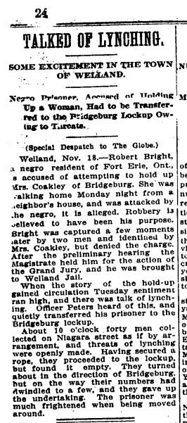 19101119 GL Attempted Lynching Ontario Globe, November 19, 1910