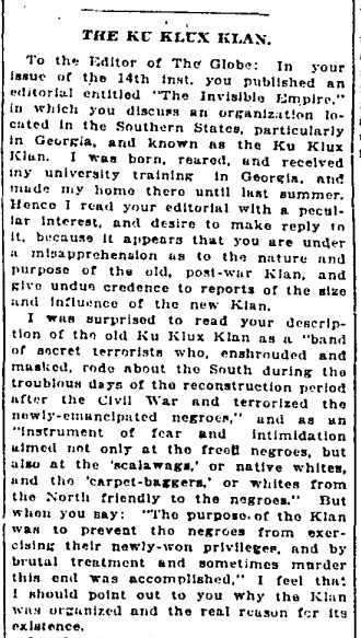 19210209 GL A defense of the KKK Letter to Editor, Globe, Feb. 9, 1921 1