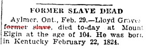 19280301 TS Lloyd Graves dead at 104, Toronto Star, March 1, 1928