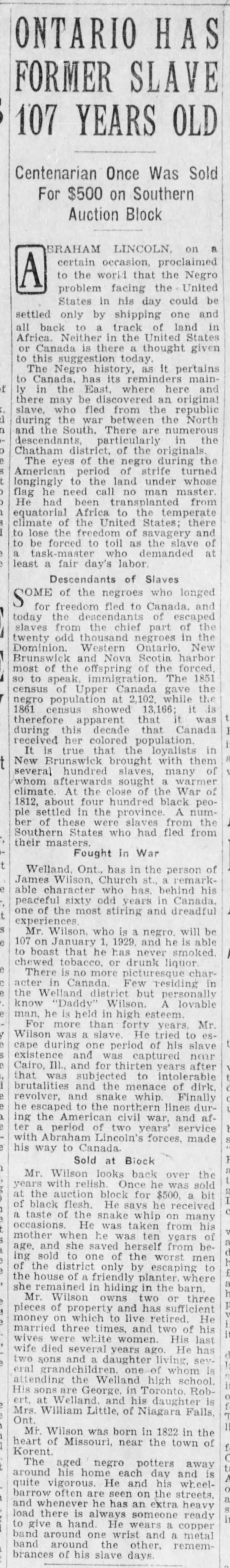 19281229 James (Daddy) Wilson, Welland remembers slavery, The Winnipeg Tribune, Dec. 29, 1928