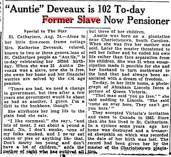 19330824 TS Catherine Deveaux 104th birthday, Toronto Star, August 24, 1933