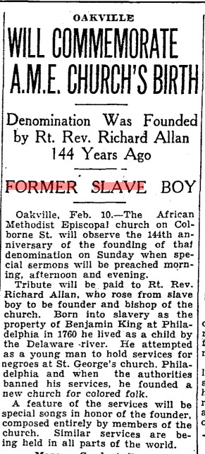 19340210 TS AME Church founding celebration Oakville, Toronto Star, Feb. 10, 1934