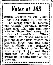 19340621 GL Katherine Deveaux votes at 103, Globe, June 21, 1934