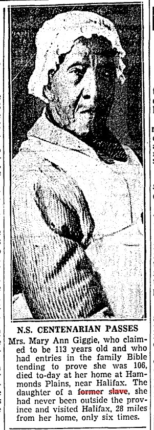 19350306 TS Daughter of slave passes away Toronto Star, March 6, 1935
