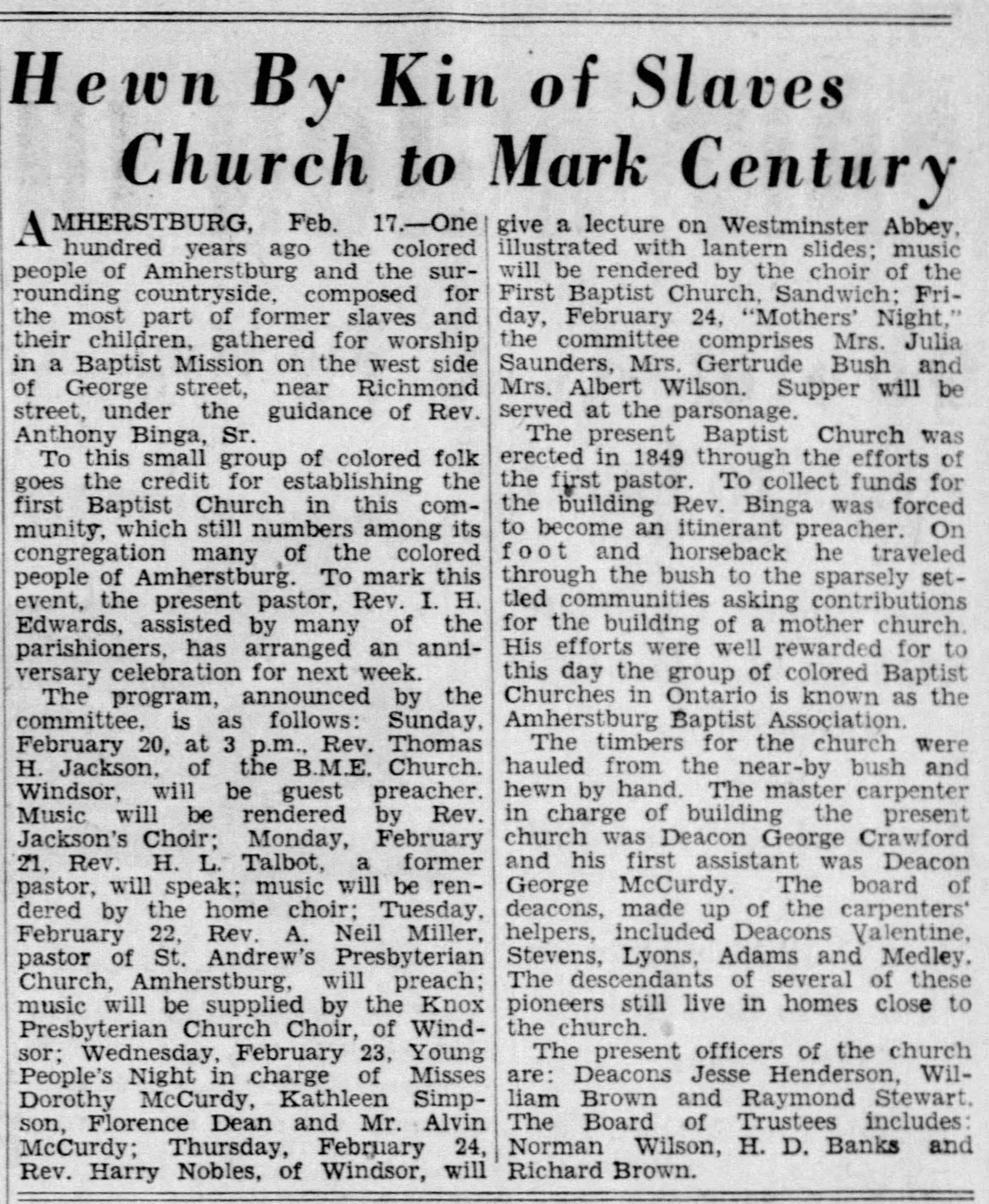 19380217 First Baptist Church, Windsor, The Windsor Star, Feb. 17, 1938