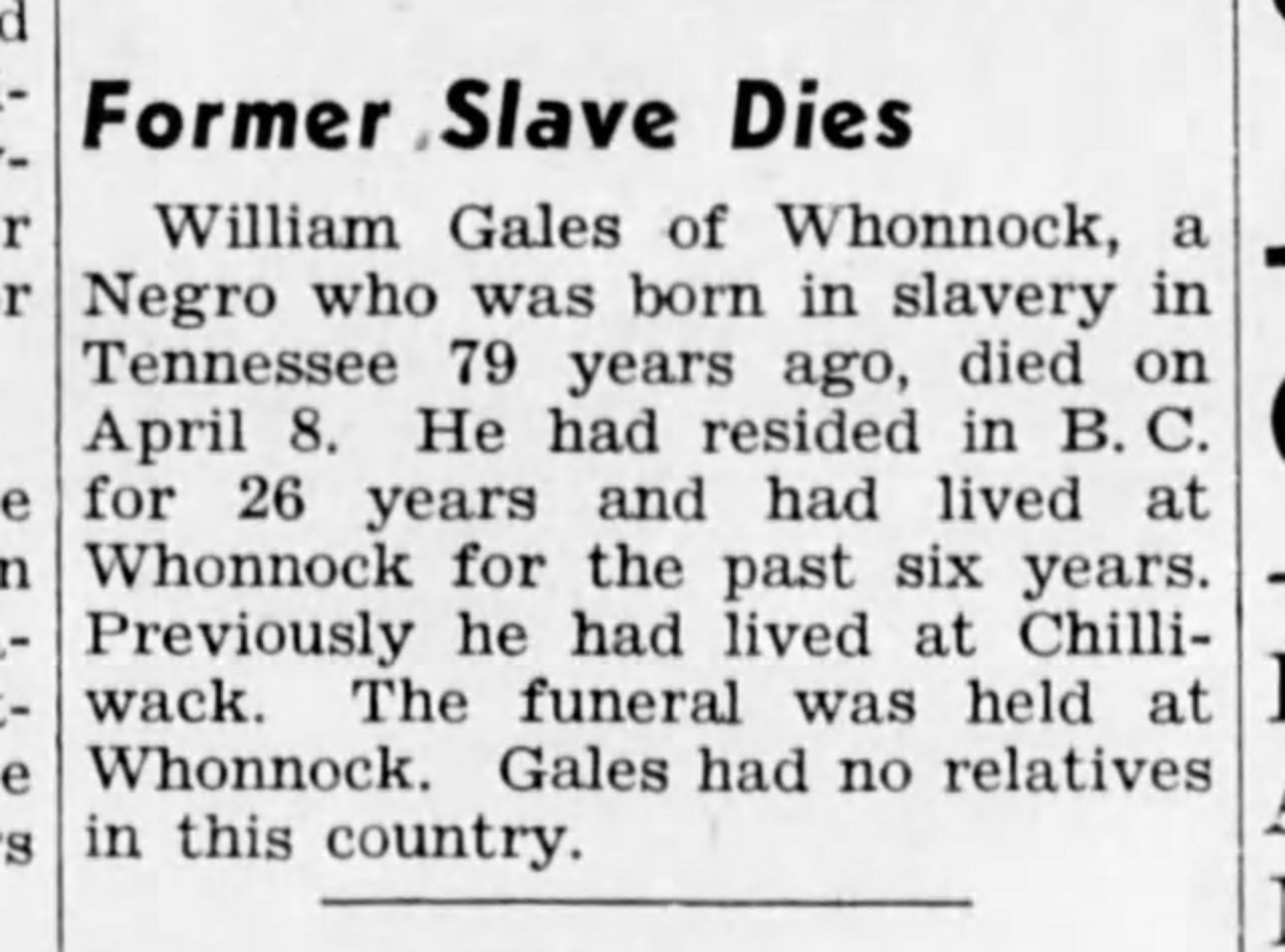 19380427 William Gales, Whonnack, BC, The Chilliwack Progress, Apr. 27, 1938