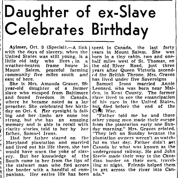 19381011 GM Amanda Graves, Samuel Irons, Annie Leonard, Globe and Mail, October 11, 1938