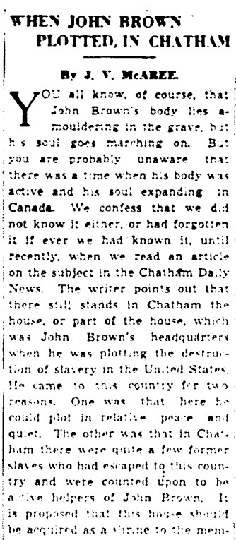 19410402 GM John Brown plotted in Chatham, Jeff Davis in Toronto, Globe and Mail, April 2, 1941 1