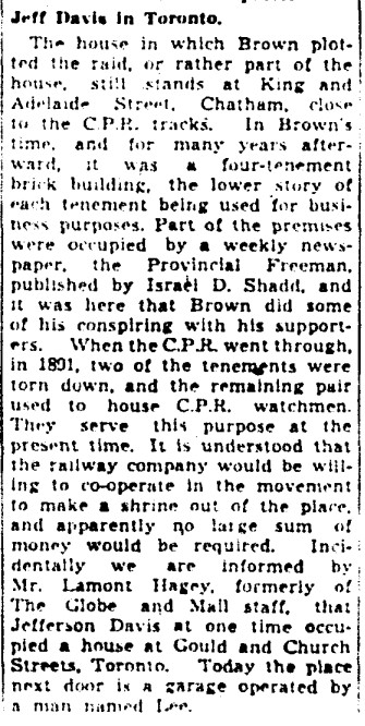 19410402 GM John Brown plotted in Chatham, Jeff Davis in Toronto, Globe and Mail, April 2, 1941 5