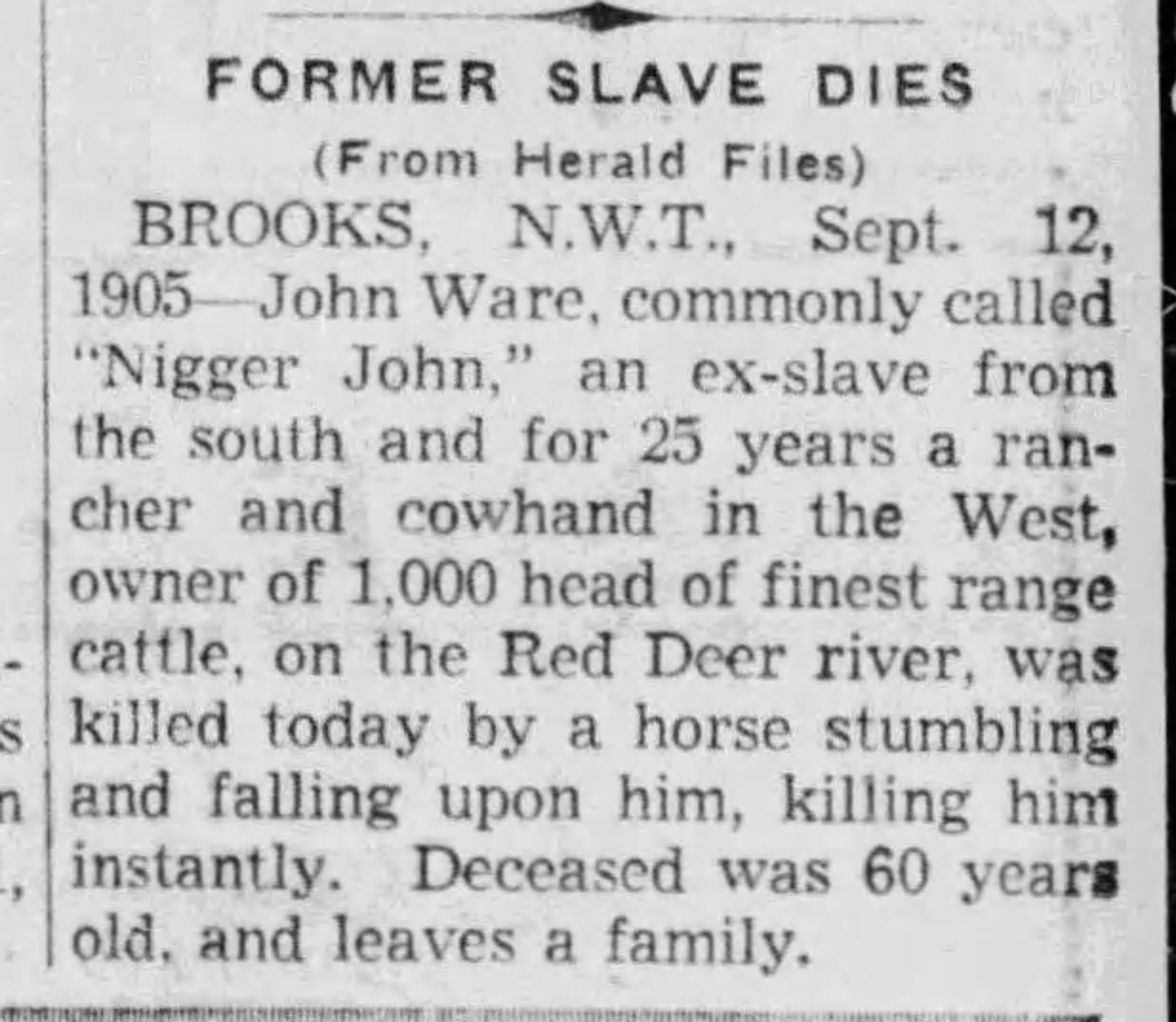 19430713 John Ware, cowboy, Calgary, Herald, Jul. 13, 1943