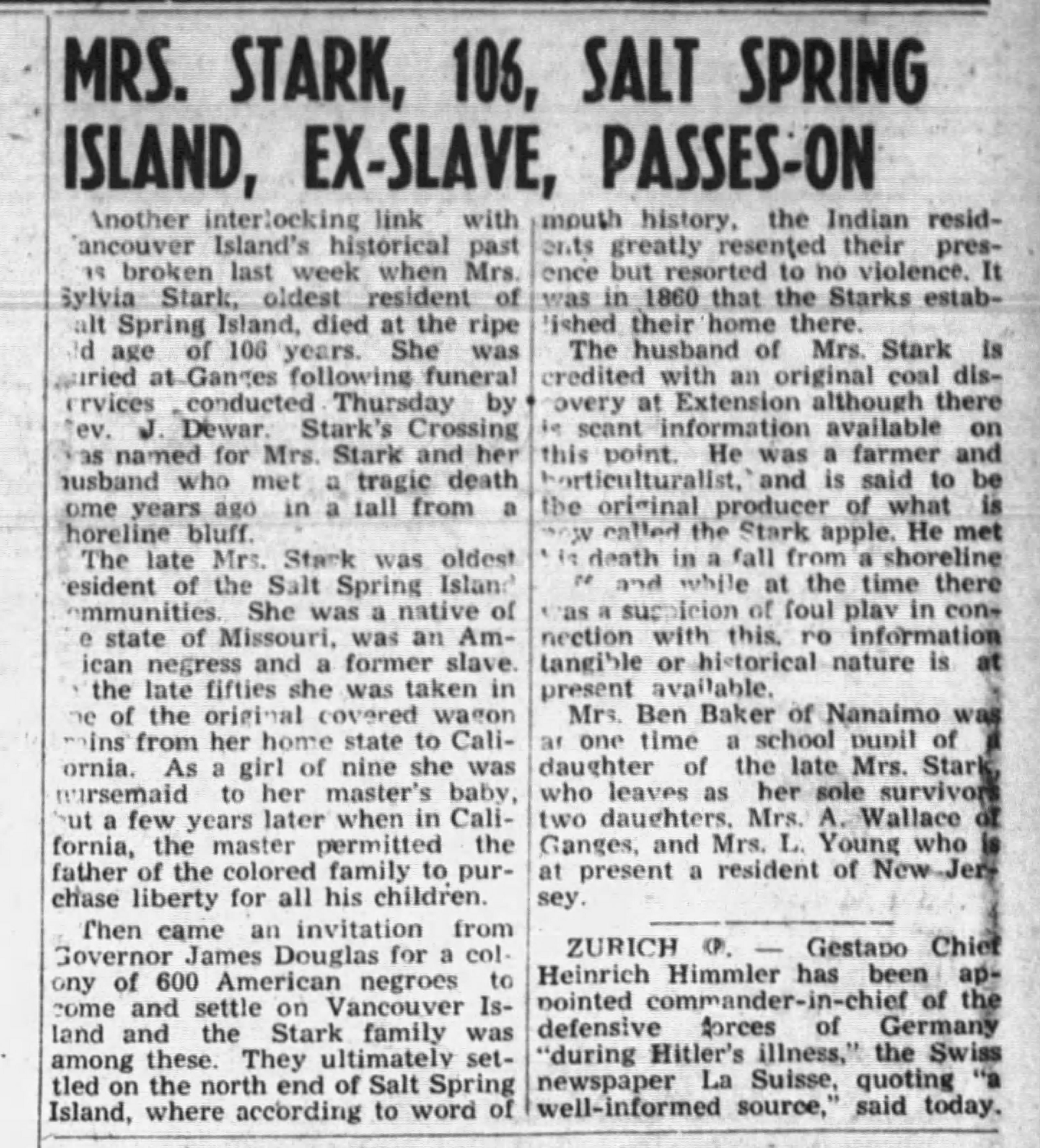 19441115 Sylvia Stark, Salt Spring Island, Nanaimo Daily News, Nov. 15, 1944