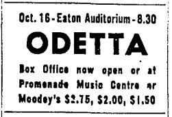 19571009 TS Odetta in Toronto, Toronto Star, October 9, 1957