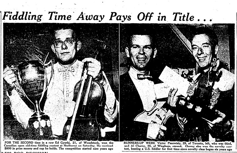 19590810 TS Dan Cheney, Old Time Fiddler, Wingham, Toronto Star, August 10, 1959
