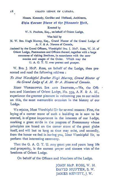 Grand Lodge of Canada 1885