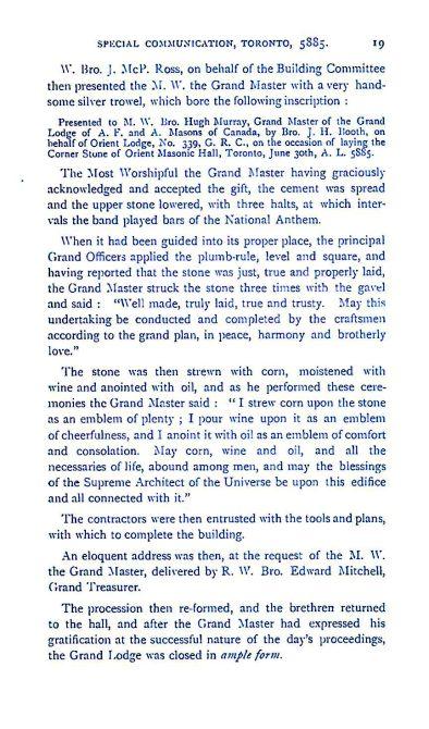 Grand Lodge of Canada 1885 19