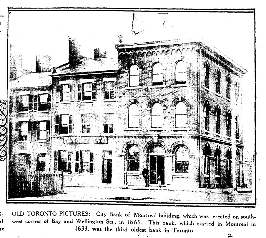 19300308 TS City Bank of Montreal Building Bay and Wellington